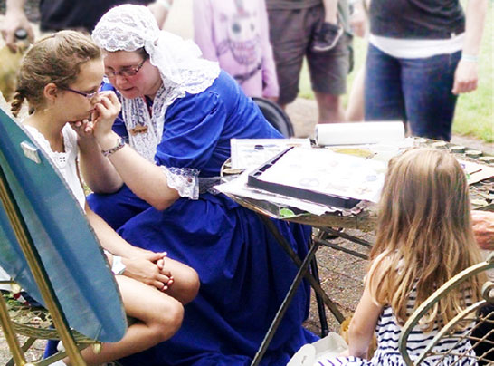 face painting at Dutch Village in Holland, Michigan